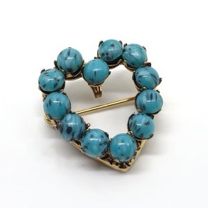 🆕Vintage Gold & Turquoise Howlite Pin/Pendant